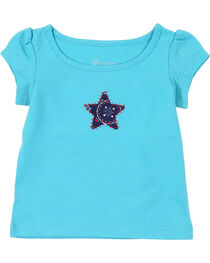 Wrangler Infant Girls' Turquoise Star Short Sleeve Tee, , hi-res