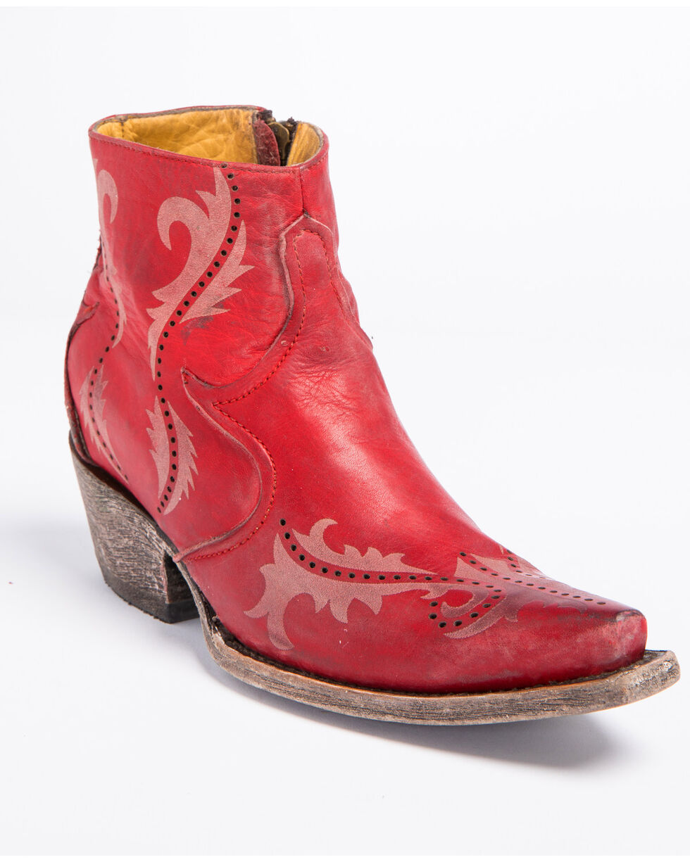 Corral Women's Red Perforated Ankle Boots - Snip Toe , Red, hi-res