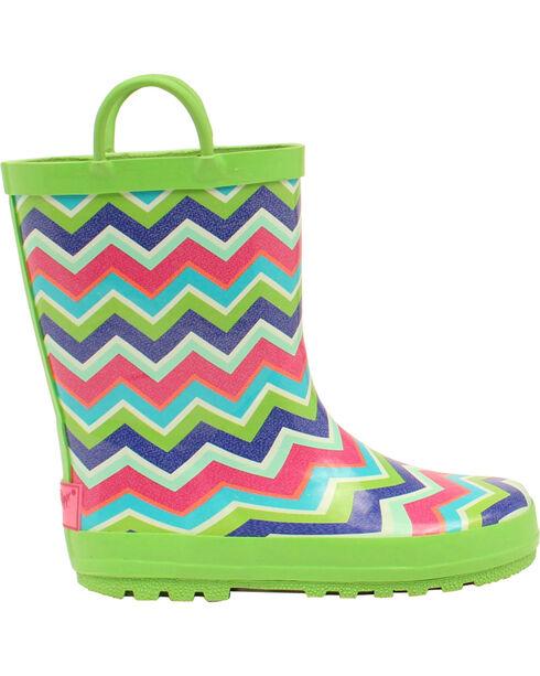 Blazin Roxx Girl's Charlsie Chevron Rain Boots - Round Toe, Green, hi-res
