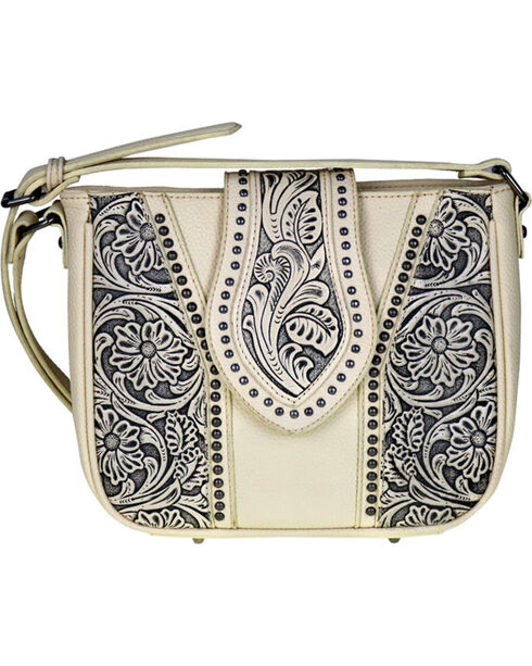 Trinity Ranch Women's Genuine Tooled Leather Cross Body Purse , , hi-res