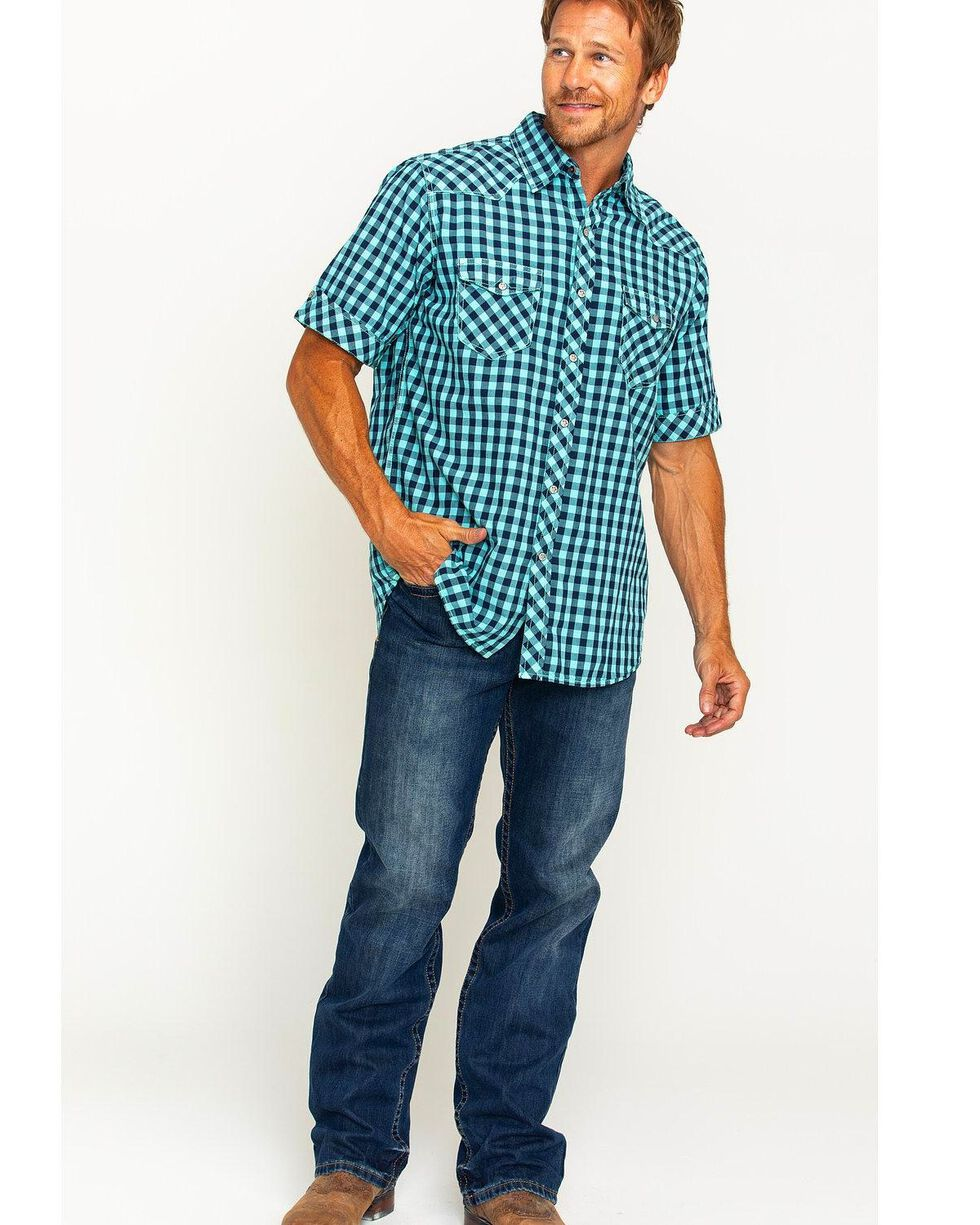 Ryan Michael Men's Aqua Gingham Short Sleeve Shirt , Aqua, hi-res