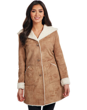 Cripple Creek Women's Button Front Faux Shearling Hooded Coat , Natural, hi-res