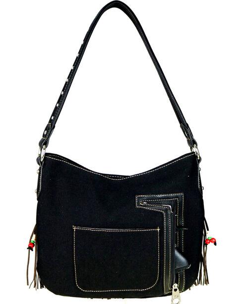 Montana West Women's Fringe Collection Concealed Handgun Hobo Bag , Black, hi-res