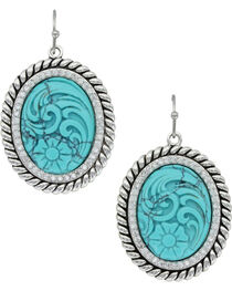Montana Silversmiths Women's Carved Legacy Turquoise Earrings , , hi-res