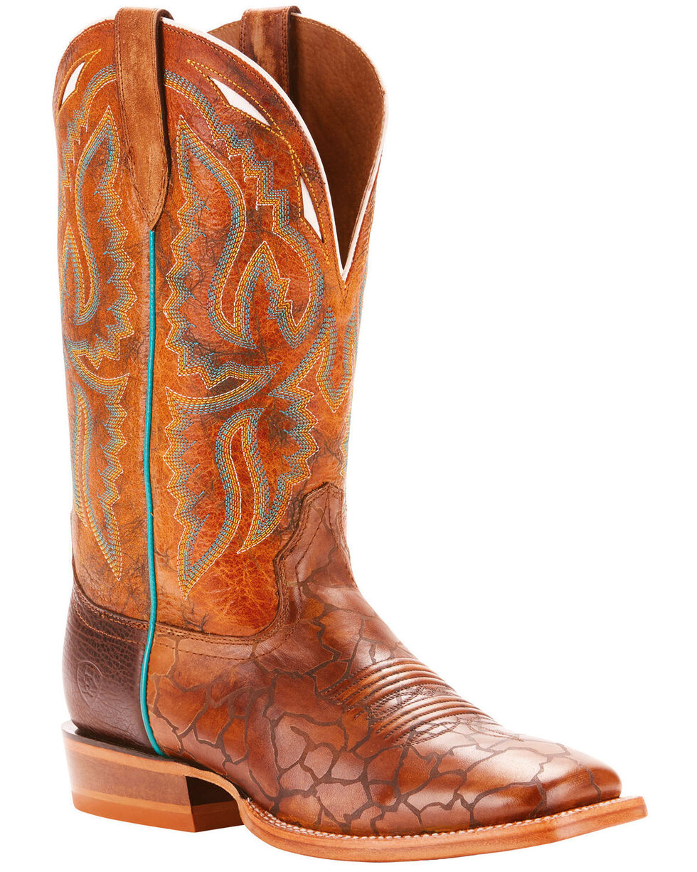 Ariat Men's Bronc Stomper Aged Turquoise Performance Cowboy Boots - Square Toe, Brown, hi-res