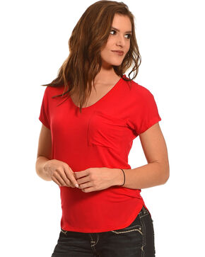 Derek Heart Women's Single Pocket Hi/Low Shirttail Hem Tee, Red, hi-res