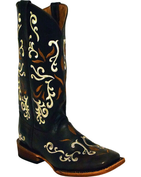 Ferrini Women's Gypsy Chocolate Cowgirl Boots - Square Toe , Chocolate, hi-res