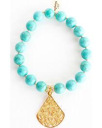 Everlasting Joy Jewelry Women's Turquoise Gold Dangle Bracelet , , hi-res