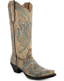 Corral Women's Embroidered Distressed Western Boots, , hi-res
