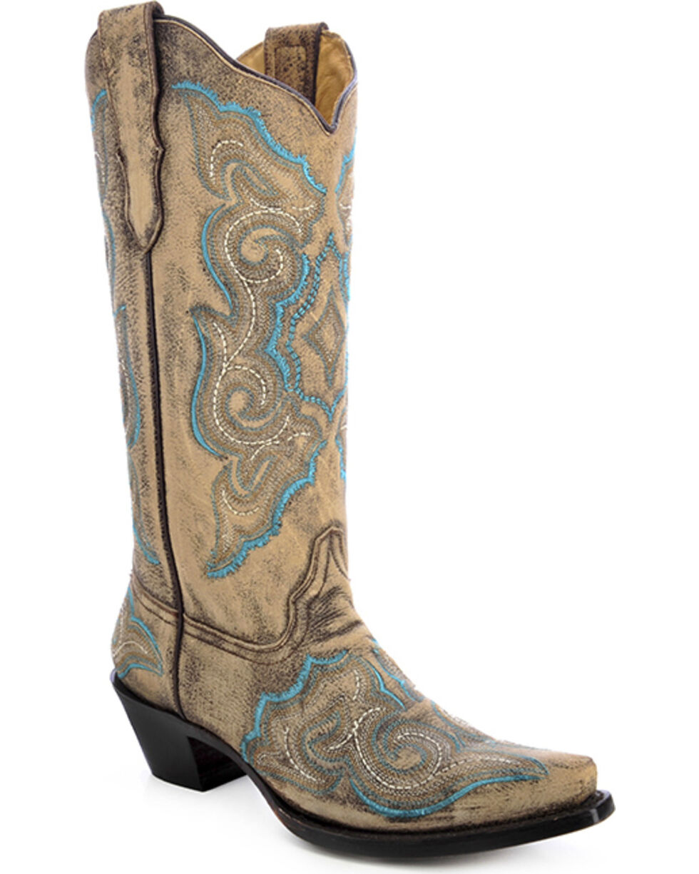 Corral Women's Embroidered Distressed Western Boots, Distressed, hi-res