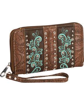 Savana Women's Brown Rhinestone Embroidered Wallet , Brown, hi-res