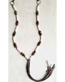 Jewelry Junkie Women's Freshwater Pearl and Wood Necklace with Fringe Tassel, White, hi-res