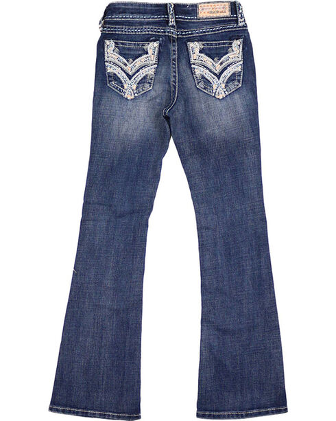 Grace In LA Girls' Embroidered Dark Wash Boot Cut Jeans, Blue, hi-res