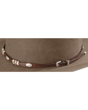 Ribbon & Concho Brown Leather Hat Band, Brown, hi-res
