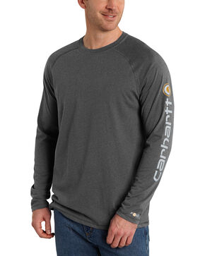 Carhartt Men's Delmont Long Sleeve T-Shirt, Grey, hi-res