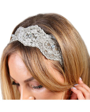 Shyanne® Women's Rhinestone Beaded Crochet Headband, Grey, hi-res