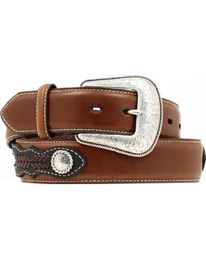 Nocona Men's Leather and Weave Inlay Western Belt, Assorted, hi-res