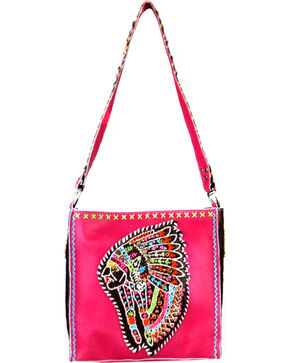 Montana West Women's Delila Leather Embroidered Indian Chief Tote Bag, Hot Pink, hi-res