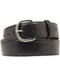 Black Leather Money Compartment Belt, , hi-res