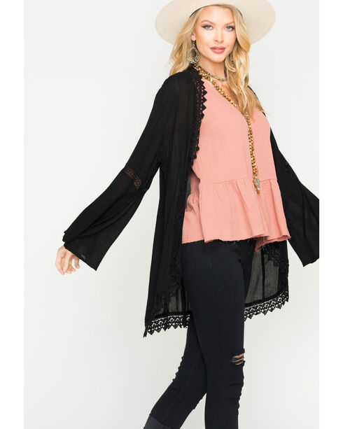Angie Women's Black Lace Trim Kimono, Black, hi-res