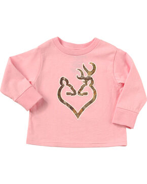 Browning Toddler Girls' Pink Realtree Camo Buckheart Long Sleeve T-Shirt , Pink, hi-res