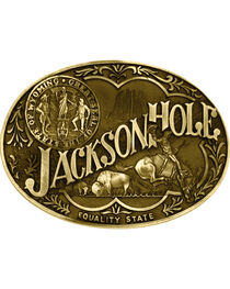 Montana Silversmiths Jackson Hole Wyoming State Heritage Attitude Belt Buckle, , hi-res
