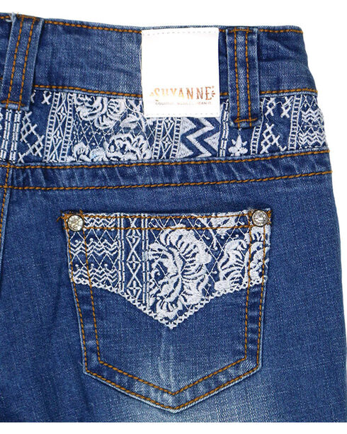Shyanne® Girls' Embroidered Boot Cut Jeans , Dark Blue, hi-res