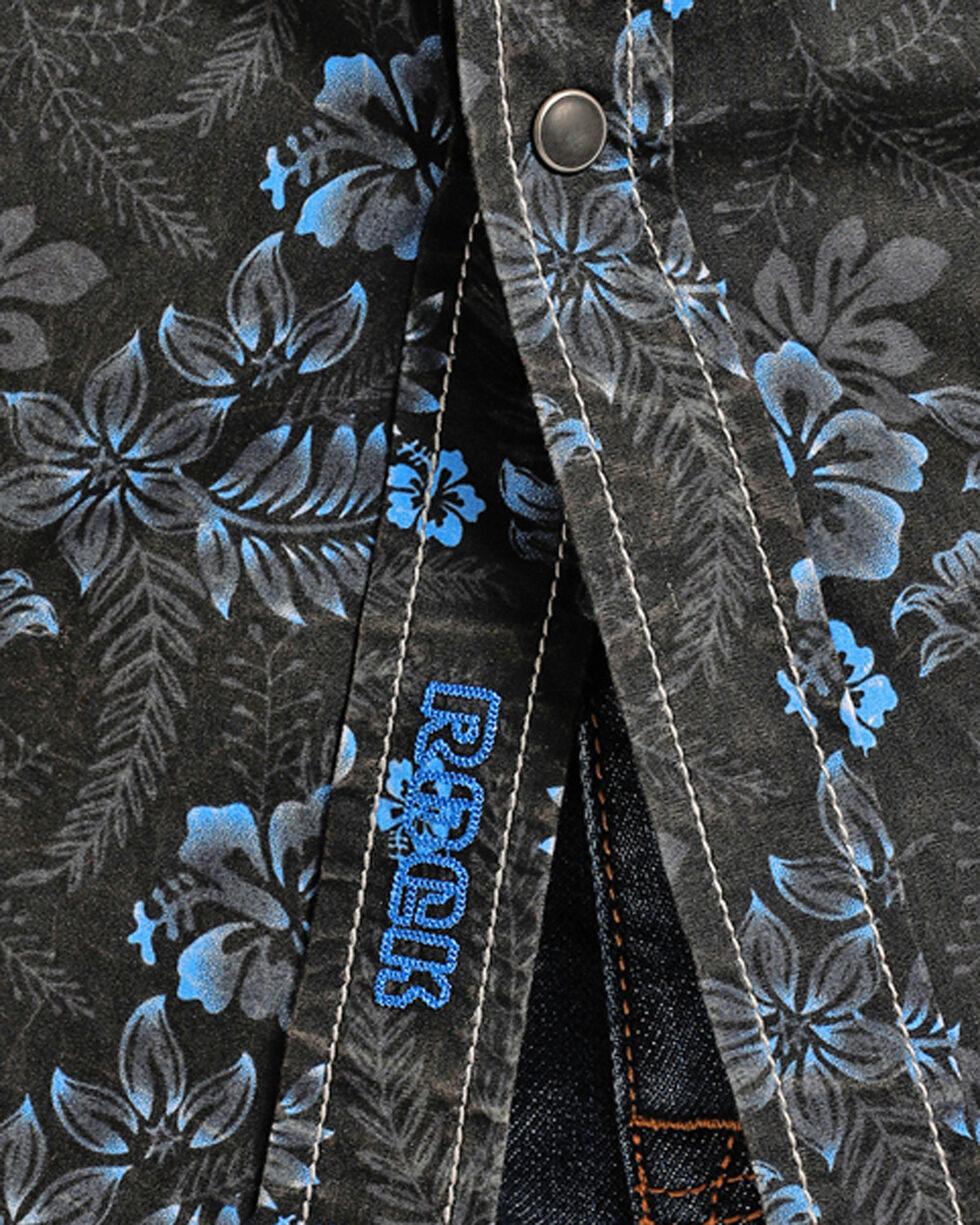 Rock & Roll Cowboy Men's Floral Short Sleeve Shirt, Blue, hi-res
