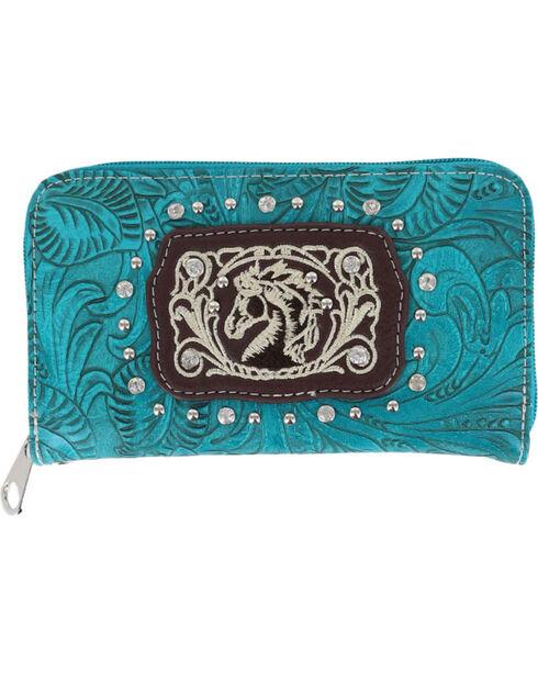 Savana Women's Horse Embroidered Wallet Wristlet, Turquoise, hi-res