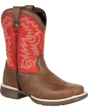 Durango Little Kid Stockman Western Boots - Square Toe , Brown, hi-res
