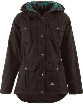 Berne Women's Quilted Flannel-Lined Washed Barn Coat - 3XL and 4XL, Dark Brown, hi-res
