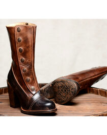 Oak Tree Farms Amelia Black Teak Boots - Round Toe, , hi-res