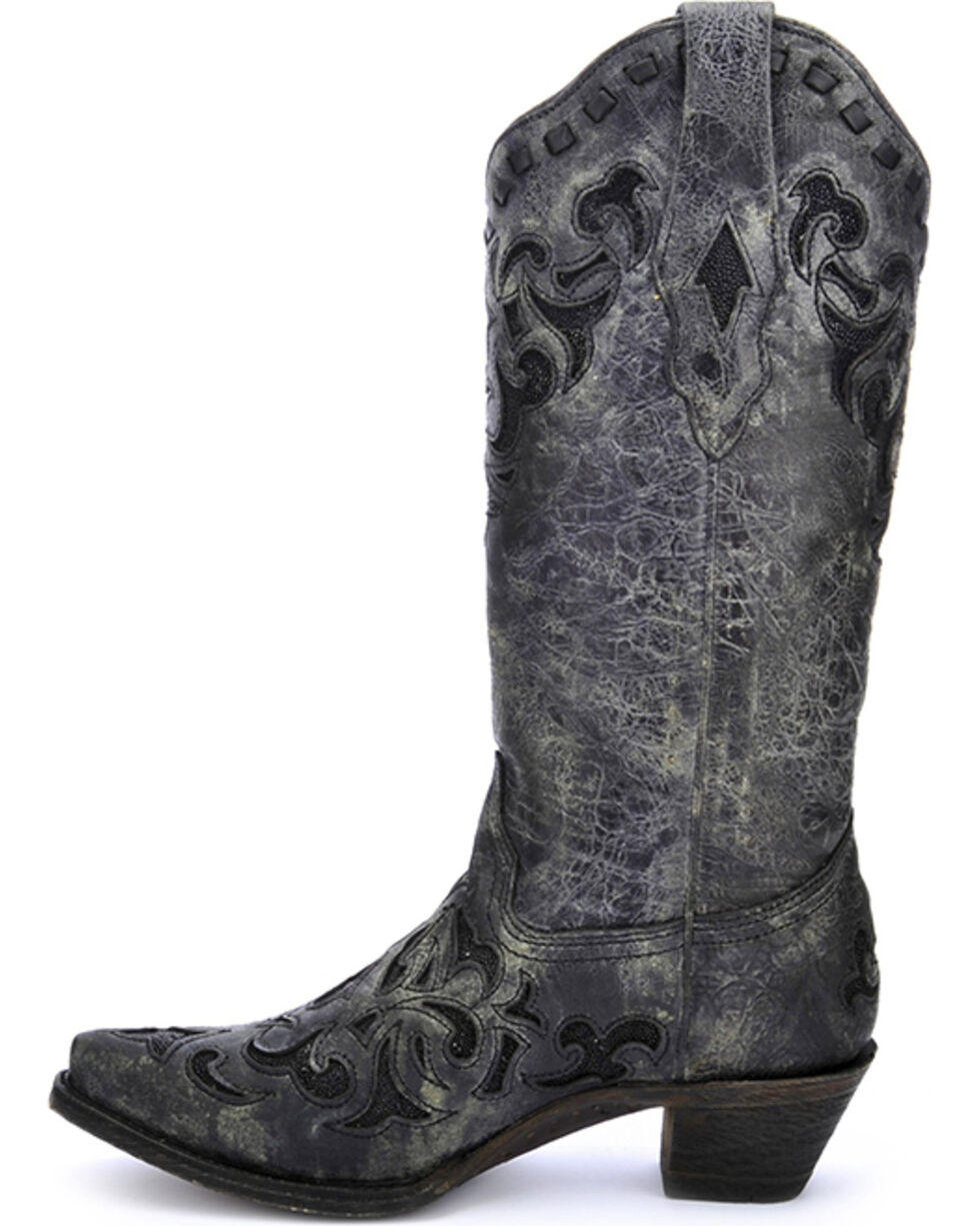 Corral Women's Metallic Stingray Inlay Western Boots, Grey, hi-res