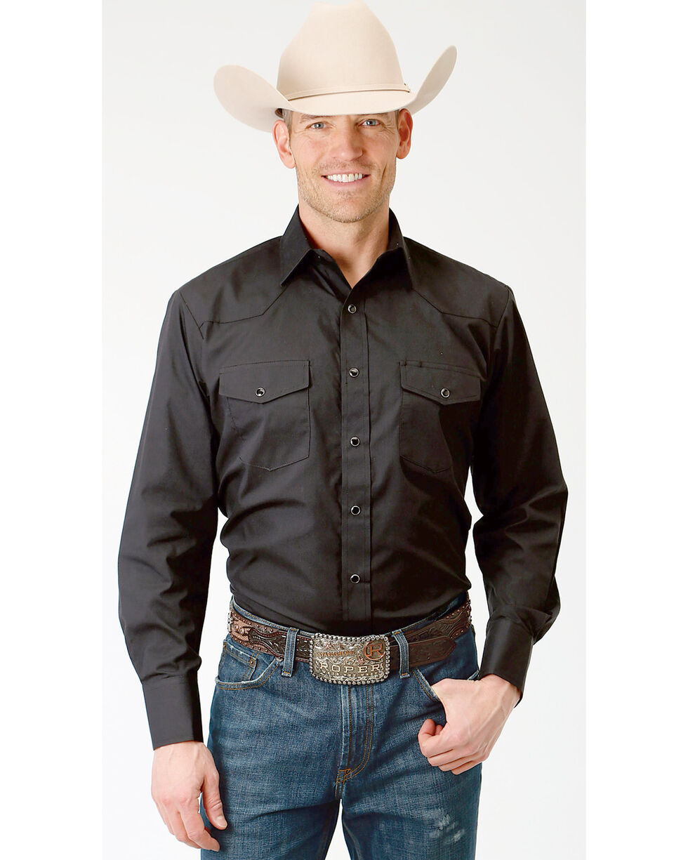 Roper Men's Solid Black Long Sleeve Western Shirt - Big, Black, hi-res