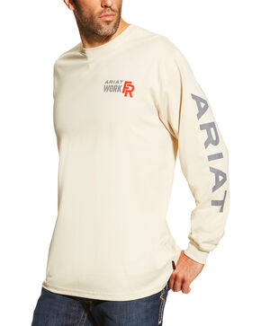 Ariat Men's Sand FR Logo Crew Neck Long Sleeve Shirt - Tall, Sand, hi-res