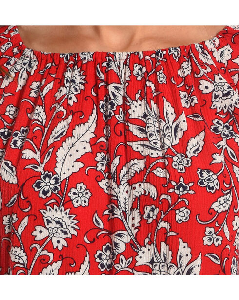 Ruby Rd. Women's Freedom Floral Print Top, Red, hi-res
