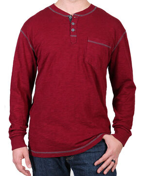 Moonshine Spirit® Men's Solid Long Sleeve Henley, Maroon, hi-res