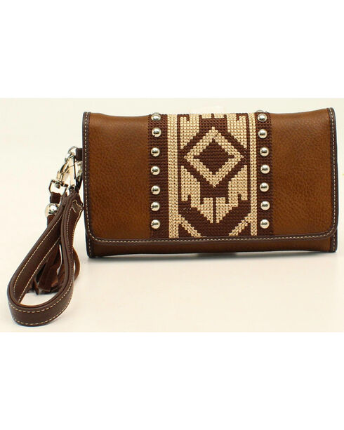 Nocona Women's Aztec Tri-Fold Wallet, Brown, hi-res
