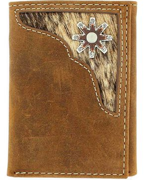 Nocona Belt Co Men's Rowel Tri-Fold Wallet, Med Brown, hi-res