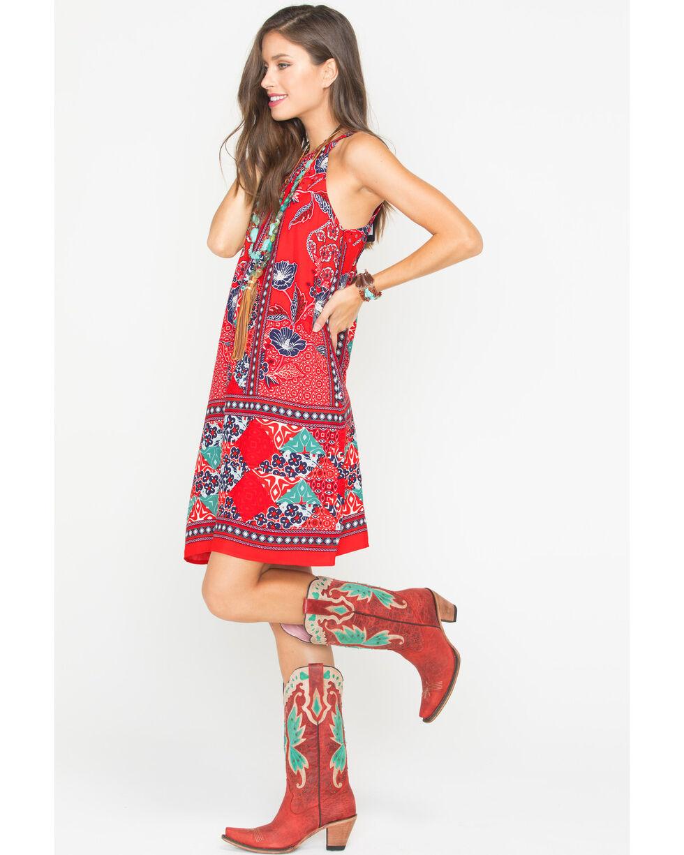 Miss Me Women's Bandana Print Halter Dress, Red, hi-res