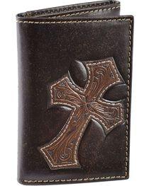 Nocona Tooled Cross Overlay Tri-fold Wallet, , hi-res