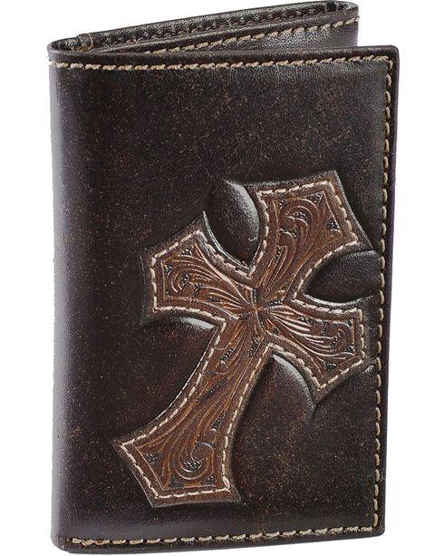Nocona Tooled Cross Overlay Tri-fold Wallet, Brown, hi-res
