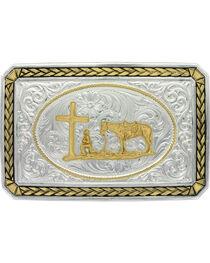 Montana Silversmiths Two Tone Christian Cowboy Buckle, , hi-res