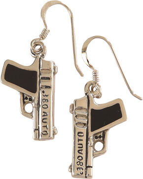 Silver Legends Women's Black Resin 380 Auto Pistol Earrings , Black, hi-res
