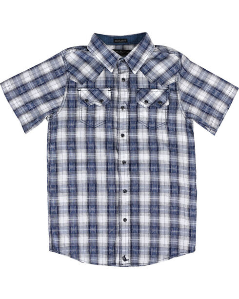 Cody James® Boys' Rattler Short Sleeve Shirt, Navy, hi-res