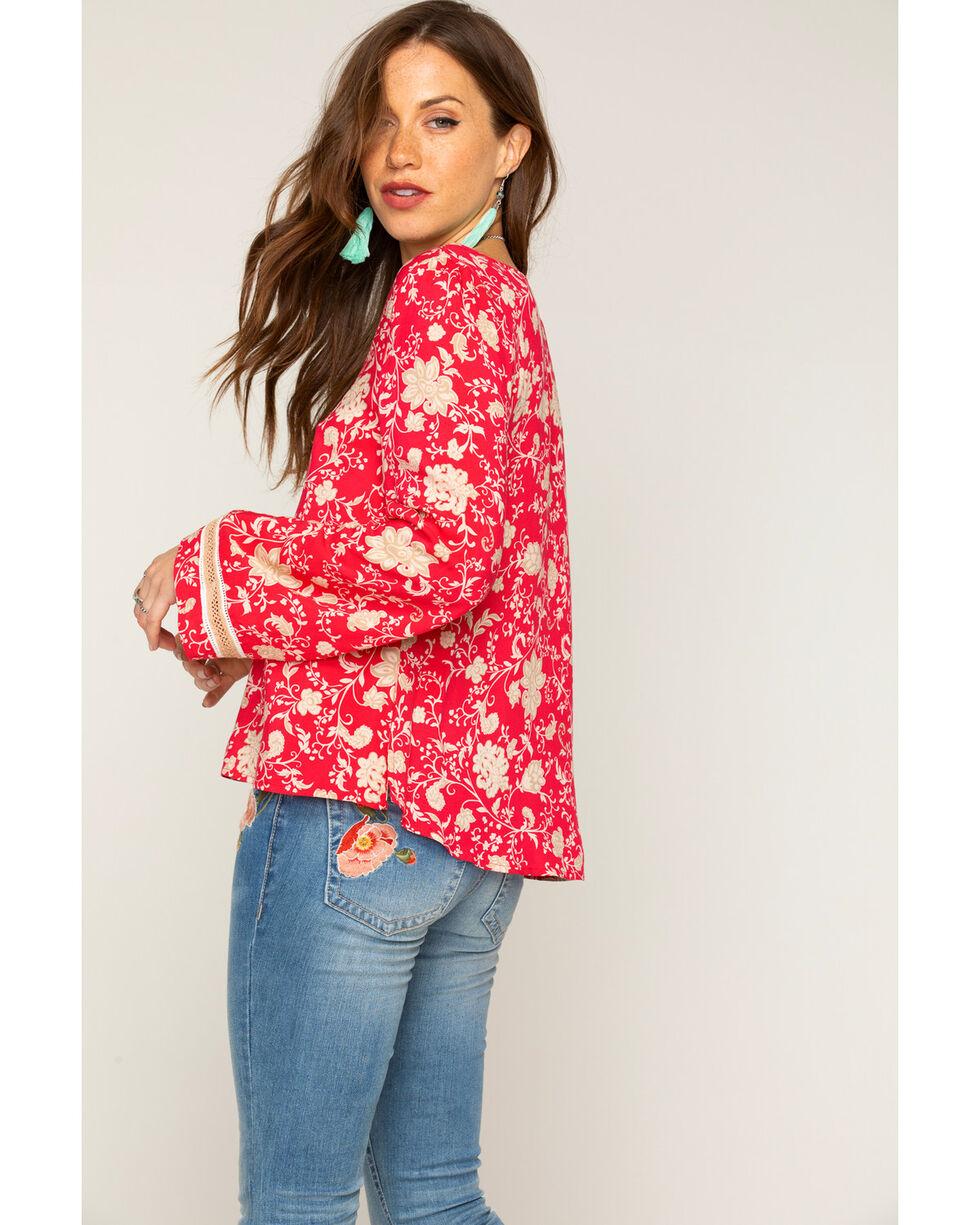 Shyanne Women's Floral Bell Sleeve Top, Pink, hi-res