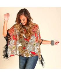 Wrangler Women's Kimono-Style Printed Top, , hi-res