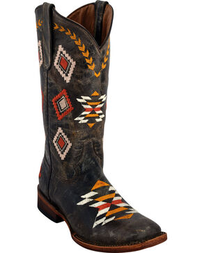 Ferrini Women's Arrowhead Distressed Chocolate Cowgirl Boots - Square Toe, Dark Brown, hi-res