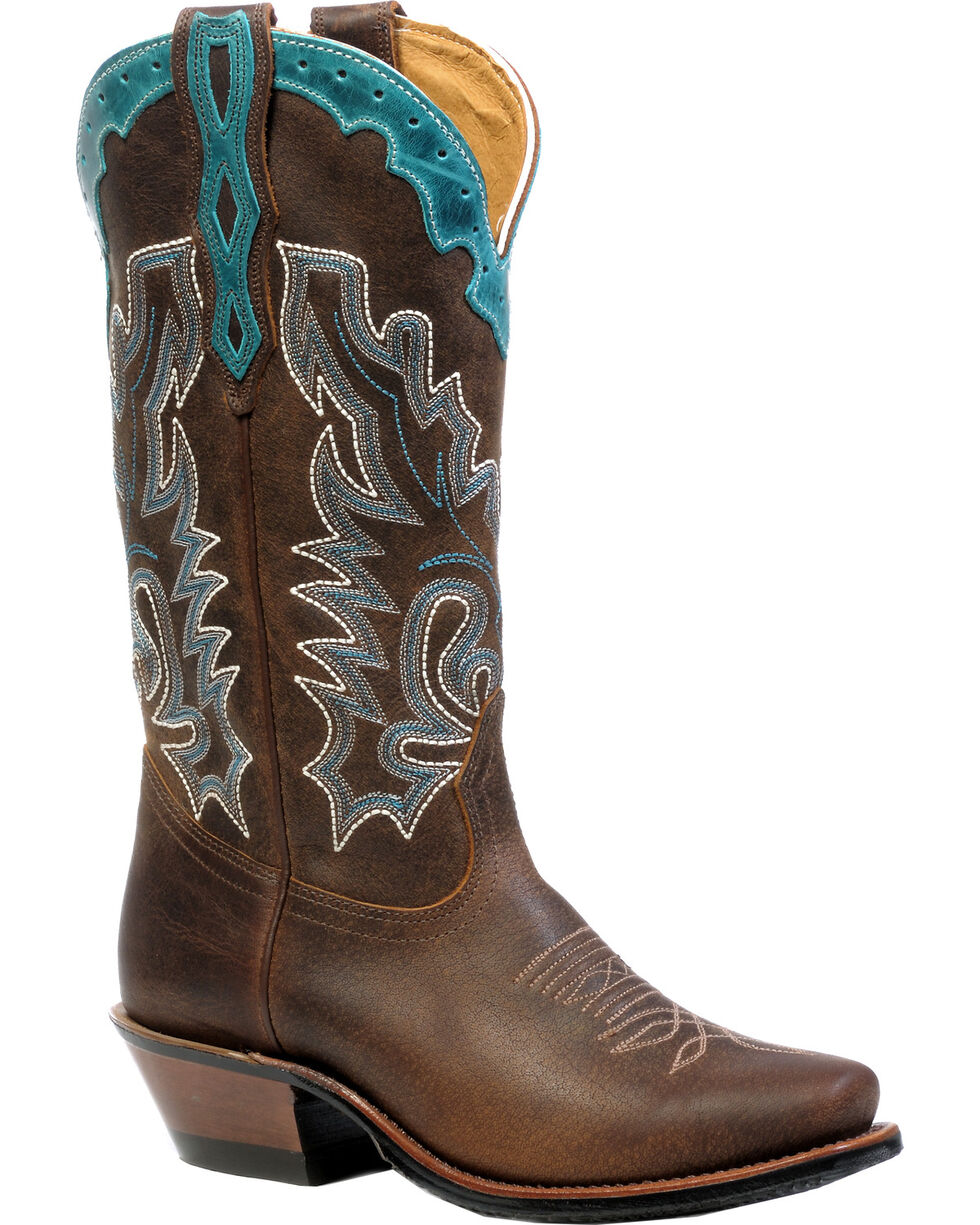 Boulet Selvaggio Wood West Turqueza Cowgirl Boots - Snip Toe, Wood, hi-res