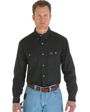 Riggs Workwear Men's Long Sleeve Twill Work Shirt, Black, hi-res